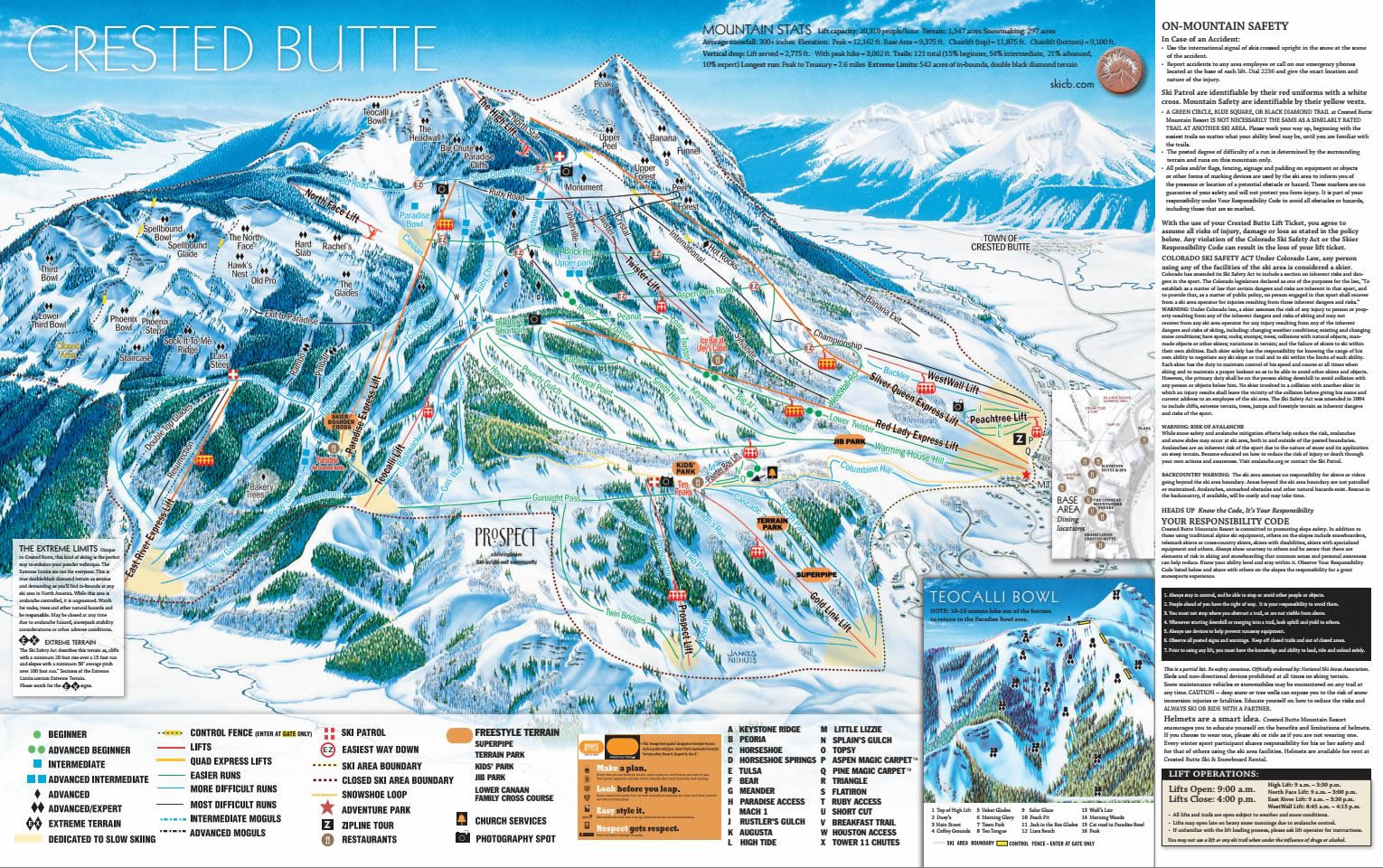 Mapa Pista Crested Butte esqui Skipoint