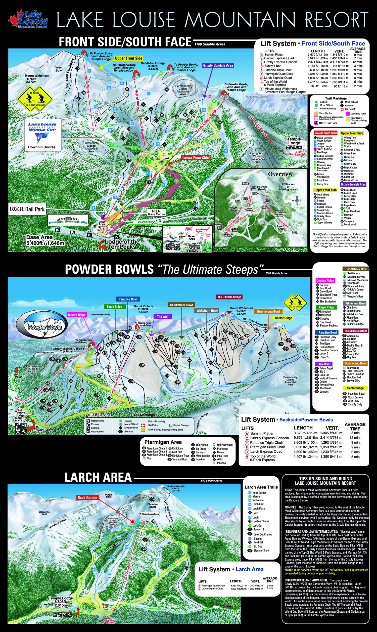 Mapa Pistas ski Banff - Lake Louise