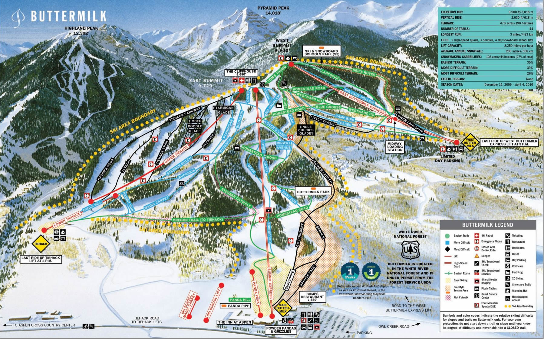 Mapa Pistas Buttermilk