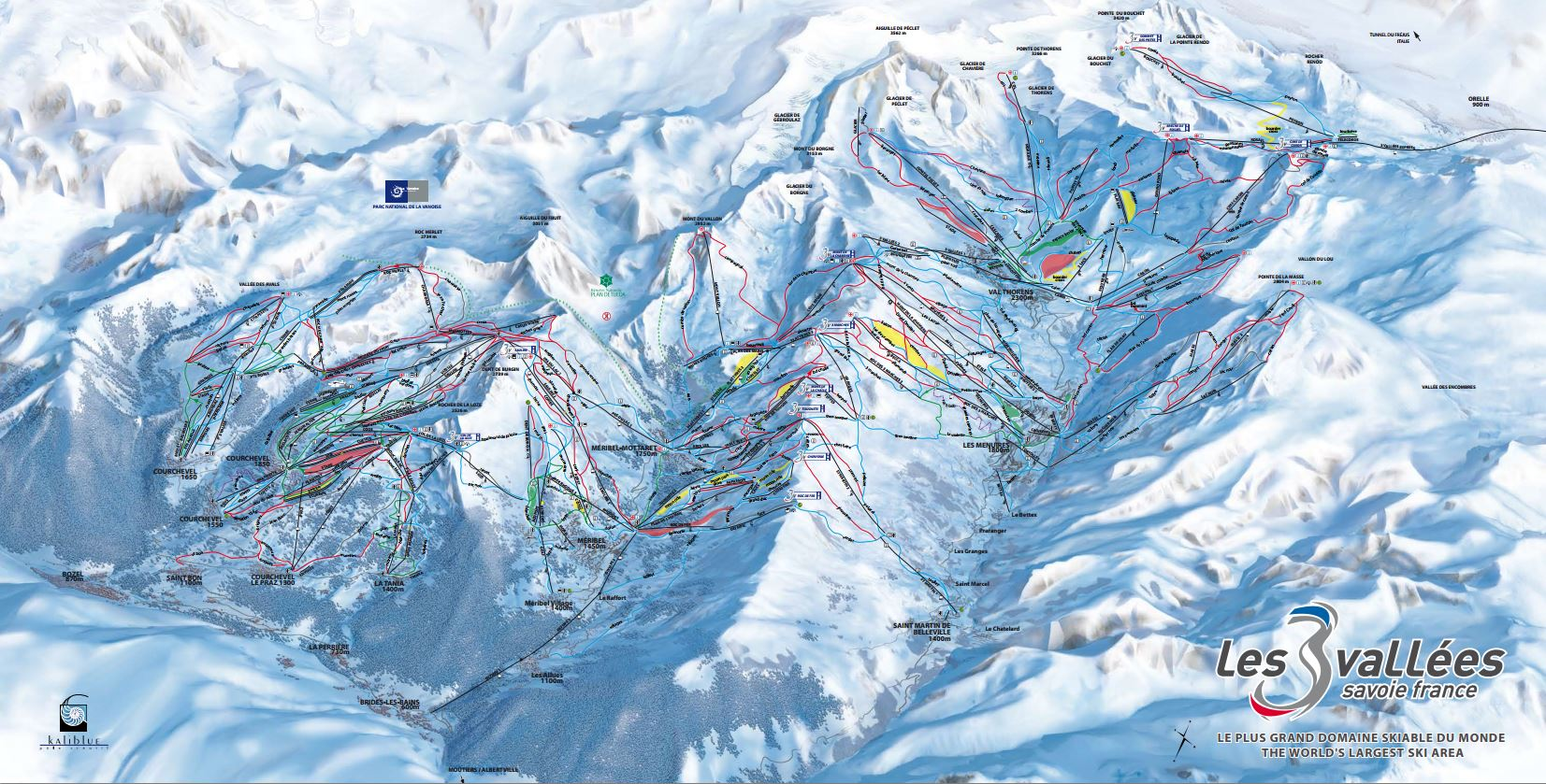 mapa pista 3 vallees club med val thorens